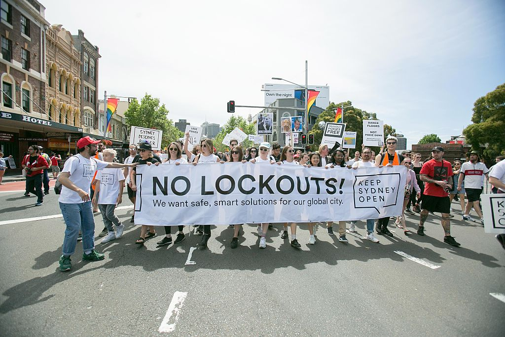 Thousands of people took part in protests against the lockout laws after they were introduced....