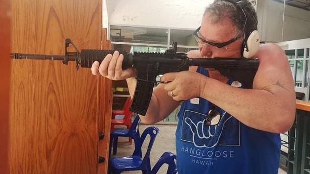 Shane Jones in action at the shooting range. Photo: Facebook via NZ Herald