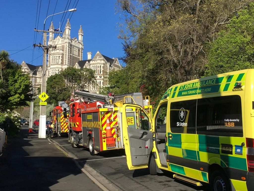 Emergency services at the scene on Friday morning. Photo: Stephen Jaquiery