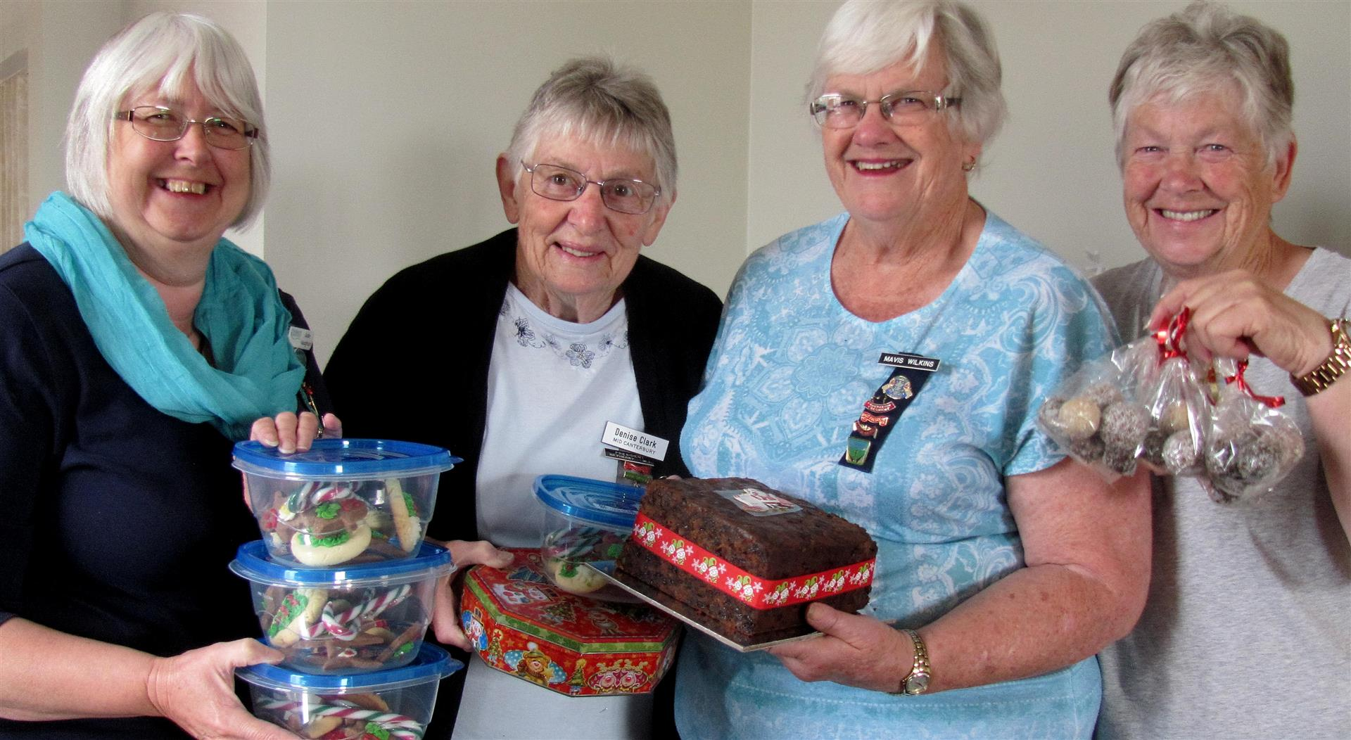 Mid Canterbury Federation of Women's Institutes members, from left, Jude  Vaughan, Denise Clark, Mavis Wilkins and Jeanette Cuthbertson want to give farming families dealing with M. bovis a bit of Christmas cheer. Photo: Toni Williams