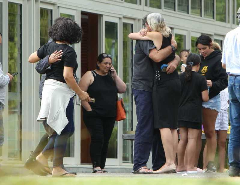 The scene outside Mataatua Marae after news the six bodies had been recovered had been shared...