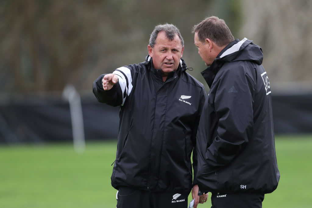 Ian Foster (L) with Steve Hansen at an All Blacks training session in Hamilton in September....