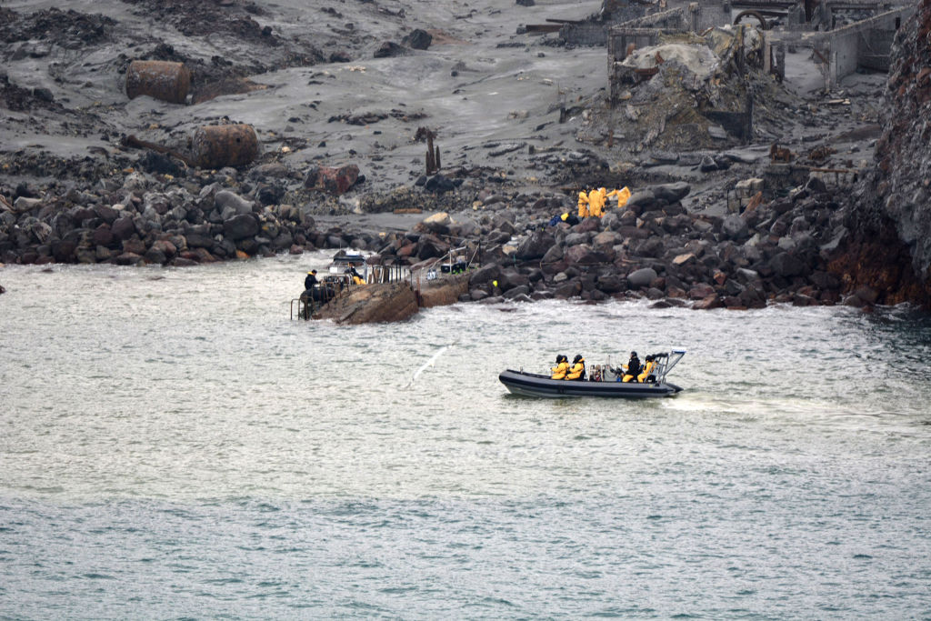 The  recovery operation under way at Whakaari/White Island yesterday. Photo by New Zealand...
