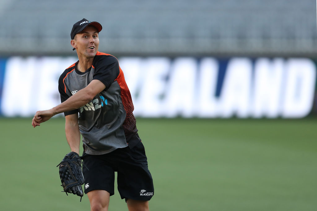 Trent Boult takes part in a New Zealand training session at Optus Stadium in Perth yesterday. Photo: Getty Images