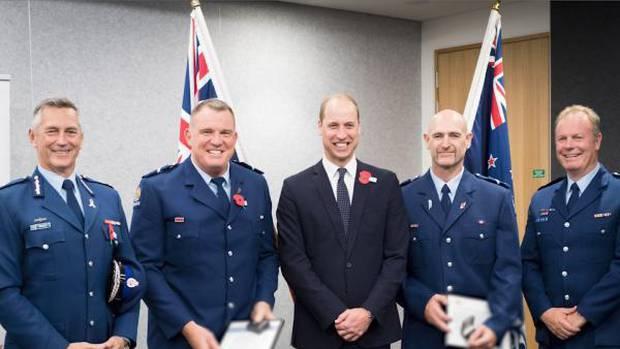 From left: Police Commissioner Mike Bush, Senior Constable Jim Manning, HRH Prince William,...