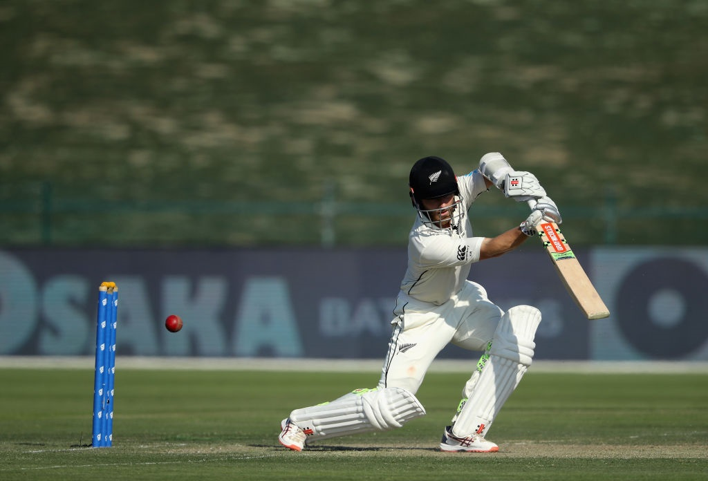 Kane Williamson plays a shot through the covers on the opening day of the third test against...