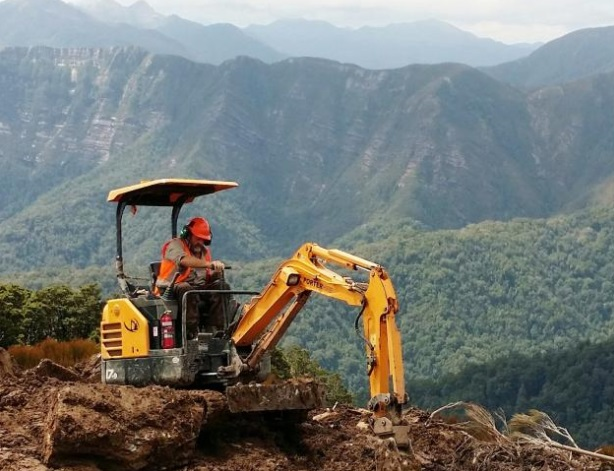 Construction work on the Paparoa Track. Photo: Department of Conservation