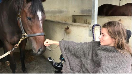 Aspiring jockey Sophia Malthus was left paralysed at just 19 after falling off a horse at one of...