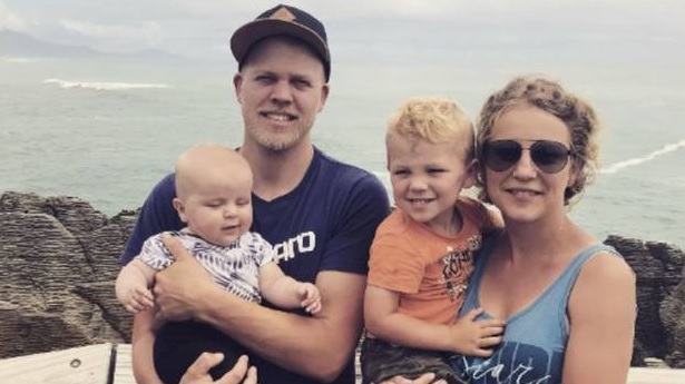 Jamie Fietje with his wife Shari and two sons Axell (L) and Astin. Photo: Supplied via NZ Herald