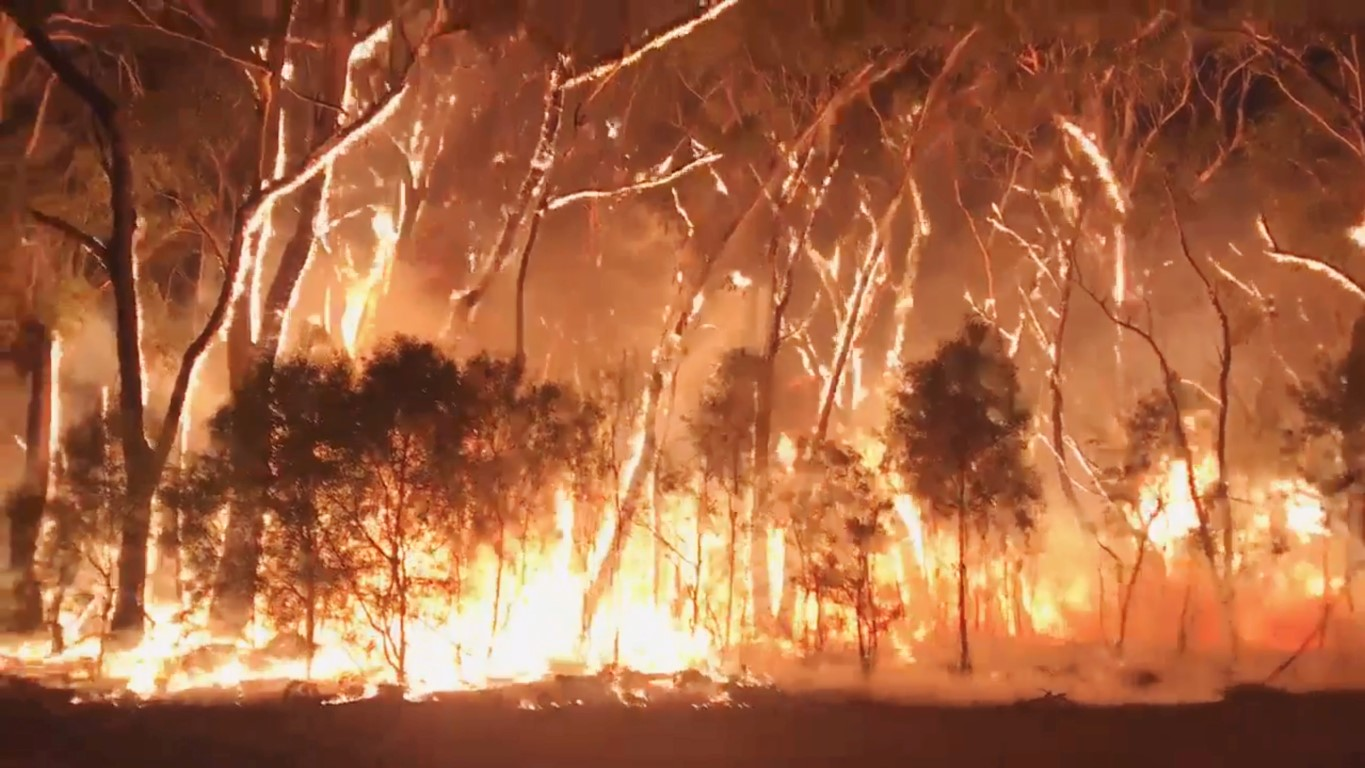 A fire blazes across bush in Newnes Plateau, New South Wales, in this grab from a social media...