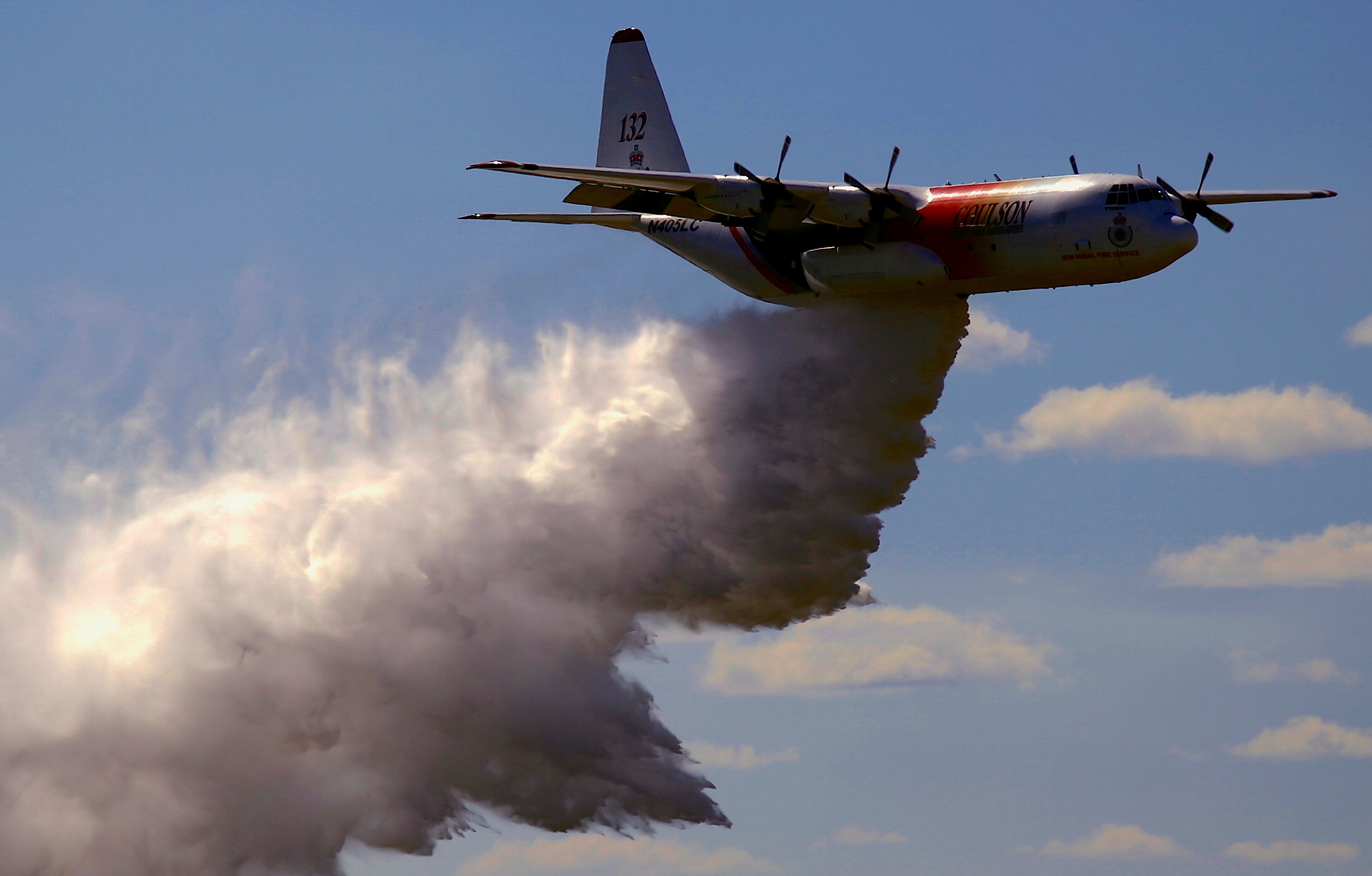 The C-130 Hercules can carry 15,000 litres of water or fire retardant, which can be released in...