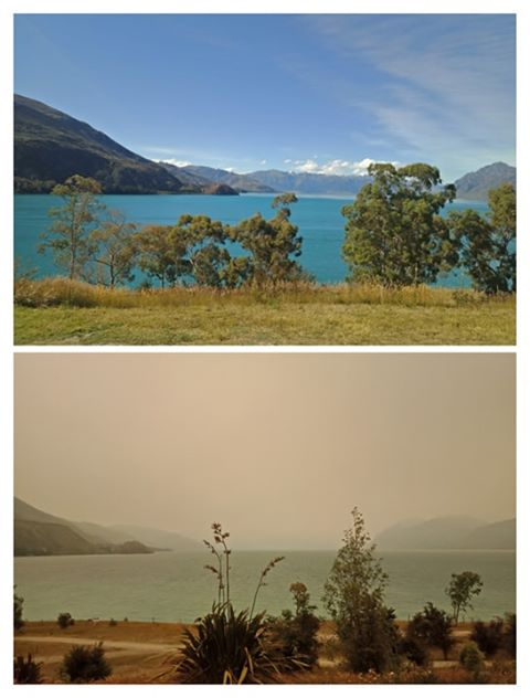 Top: A view of Lake Hawea yesterday. Bottom: A view of the lake today. Photos: Lucy Harman