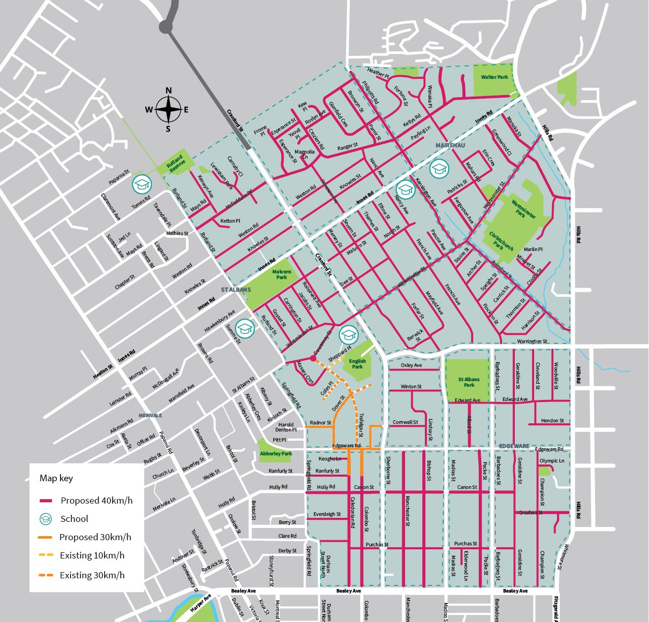 Streets within the area shaded green are going to have a 40km/h speed limit. Source: Newsline