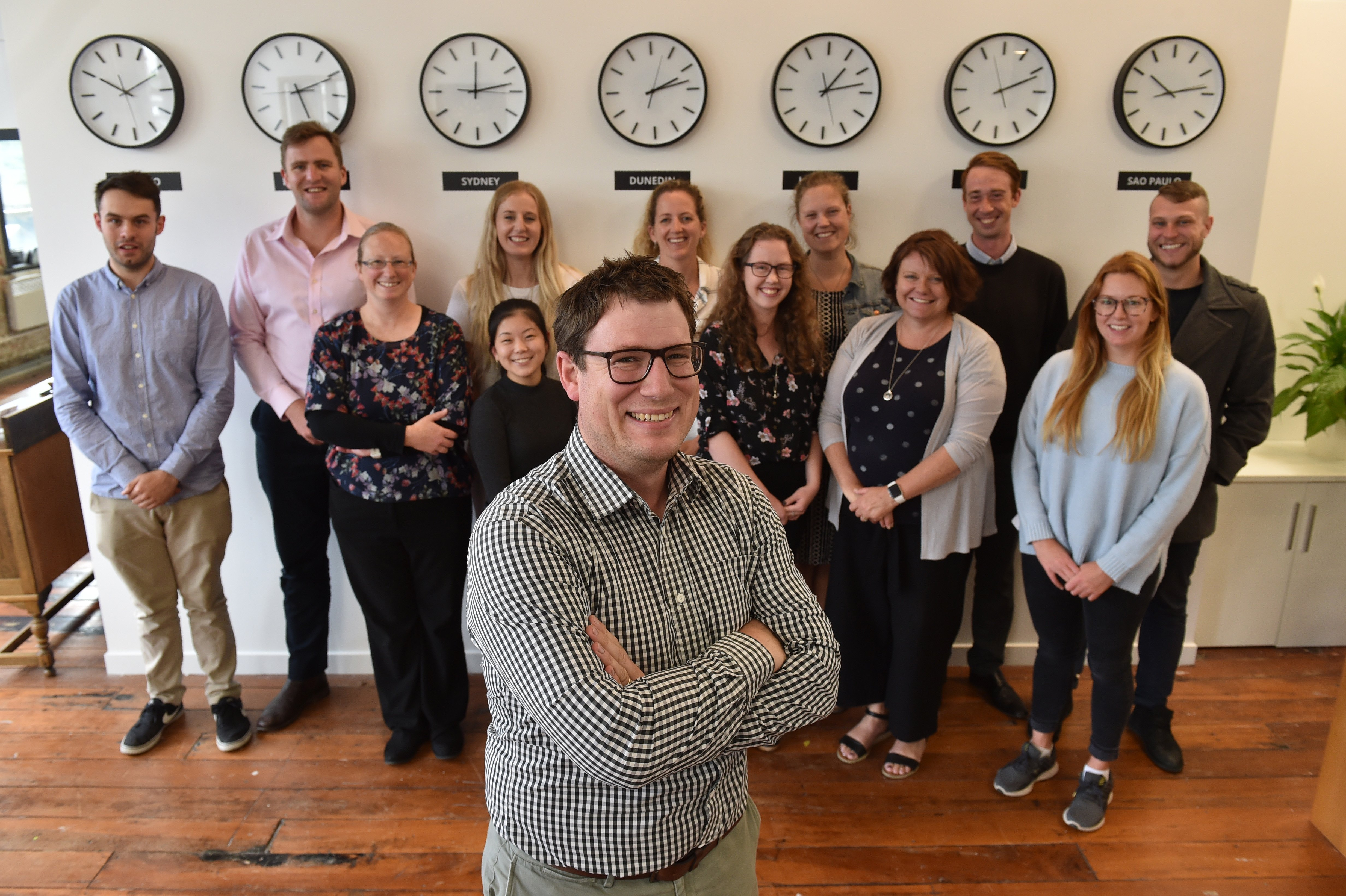 Oritain Global science and operations director Dr Sam Lind with Oritain team members (from left, back row) Cullen Shand, Stew Whitehead, Ella Wilkins, Lucinda Garside, Devonia Kruimer, Connor McSpadden and Josh Wakefield, (front row) Holiday Wilson, Kaho