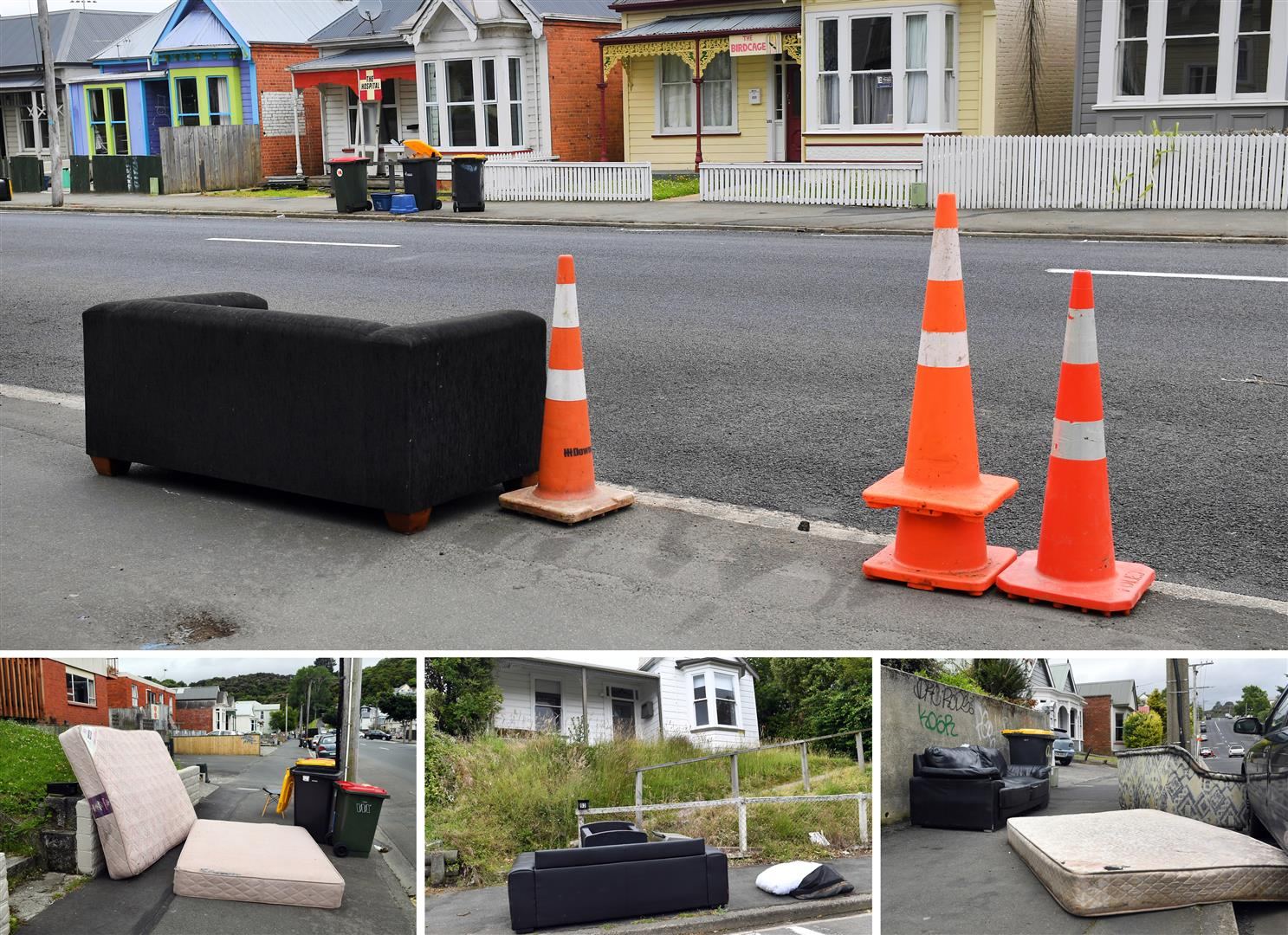 Old sofas, armchairs, mattresses and other large items, discarded on North Dunedin streets, are being collected by the Dunedin City Council. Photos: Stephen Jaquiery