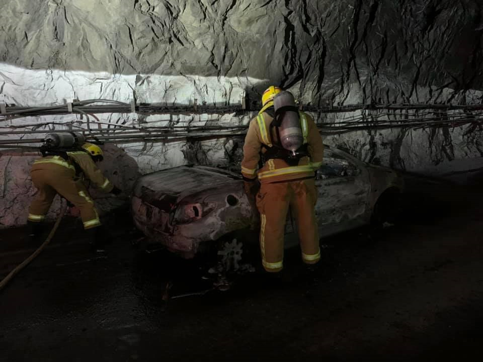 The tunnel was closed for several hours after the incident. Photo: Te Anau Volunteer Fire Brigade