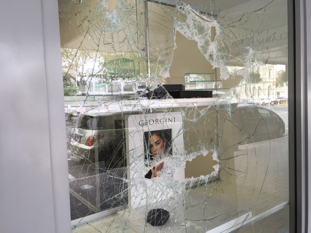 The front window of Ballantynes Showcase Jewellers in lower Thames St in Oamaru, which was...