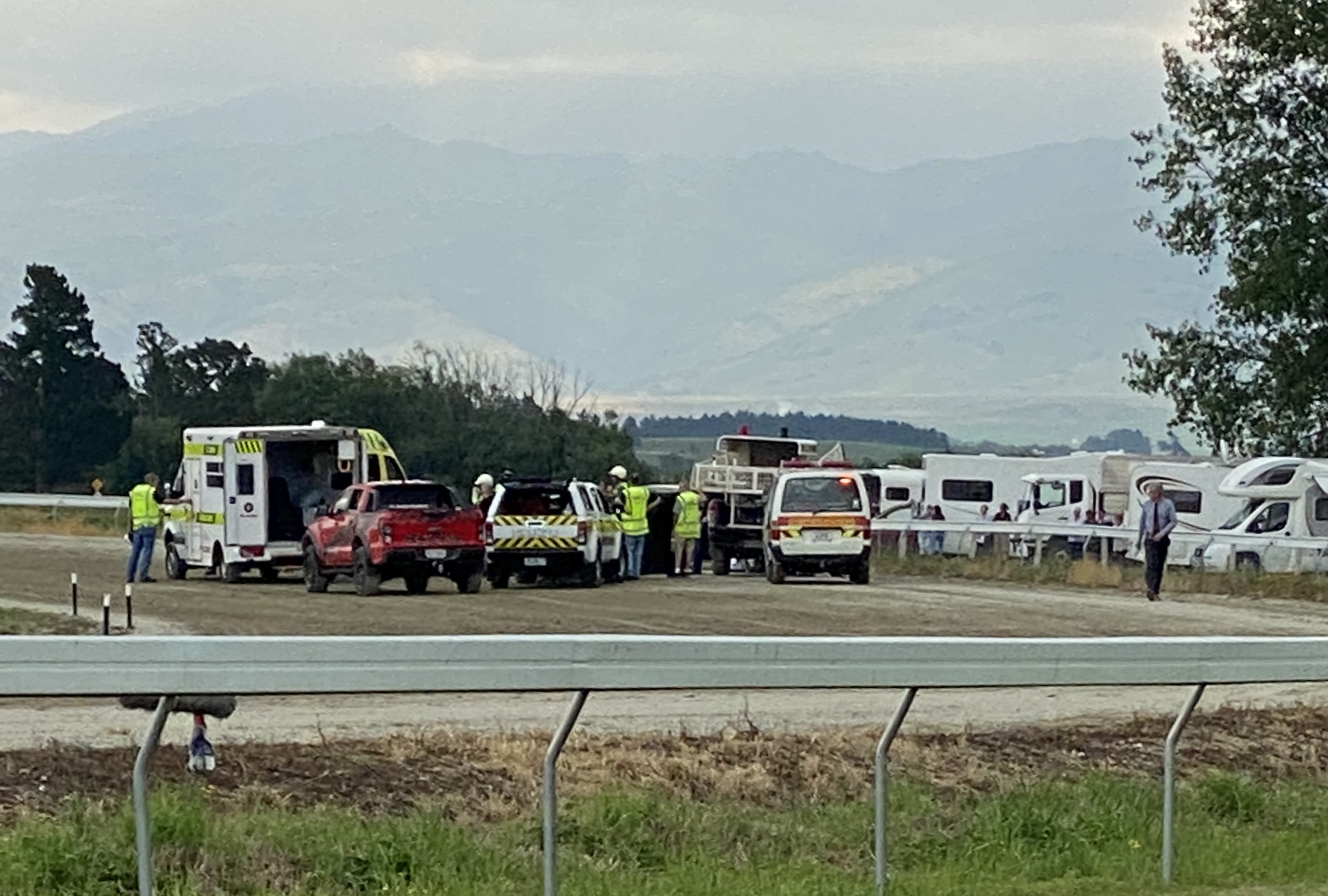 Ricky May collapsed while driving in today's feature race, the Central Otago Cup. Photos: ODT