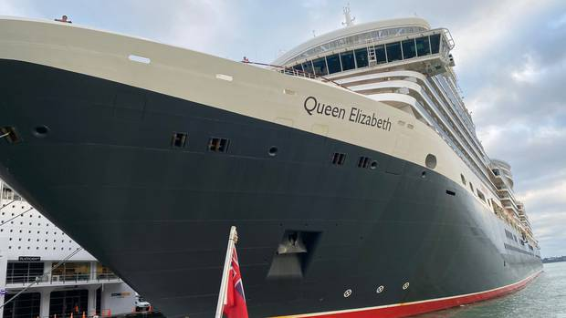 The Queen Elizabeth berthing in Auckland this morning, as seen from the deck of Fullers' close...