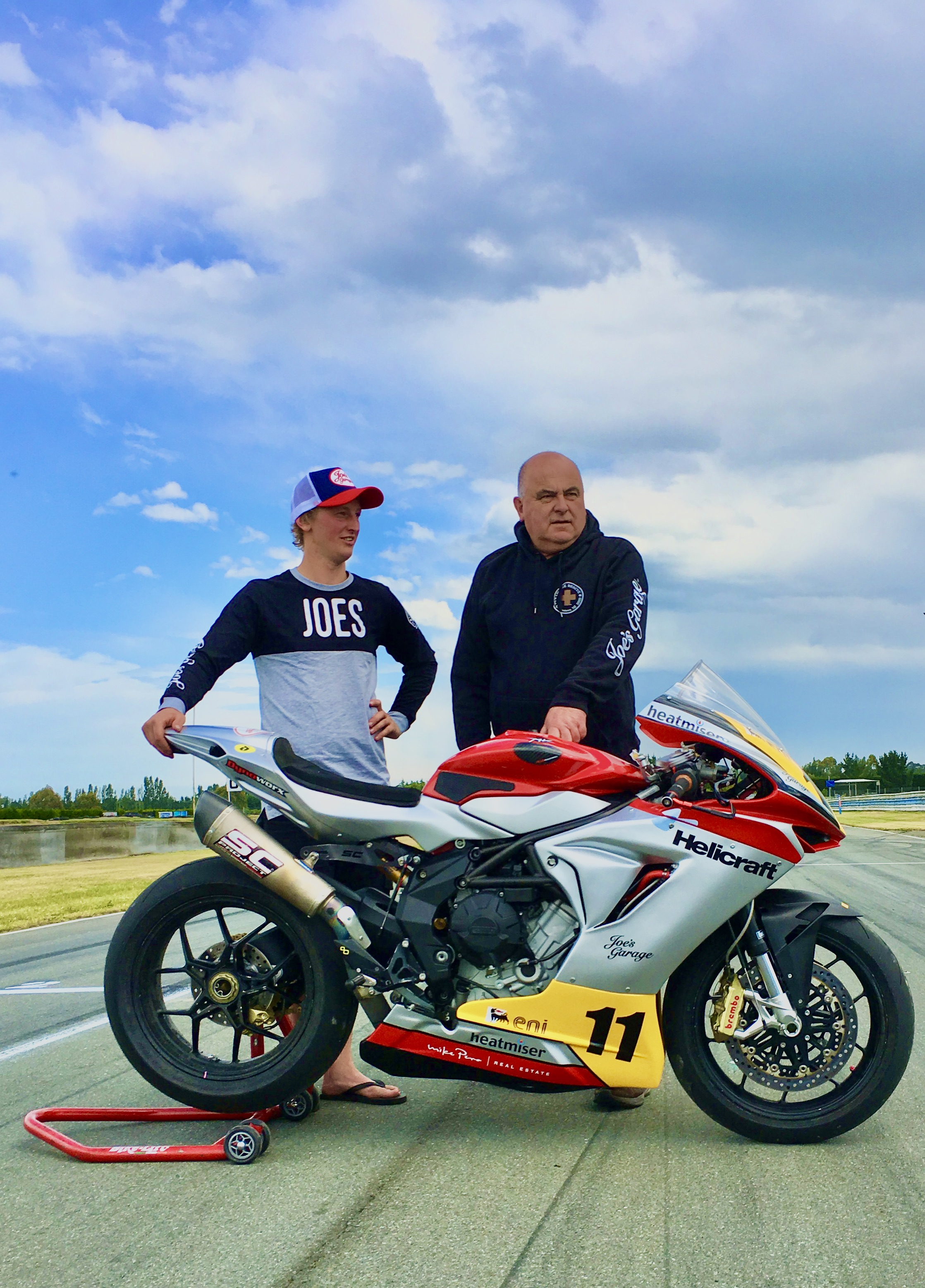 Rider Seth Devereux, of Tapanui (left), and Helicraft Racing owner Rod Price, of Wanaka, with the MV Agusta they will race in the 2020 New Zealand 600 Supersport Championship. Photo: Supplied