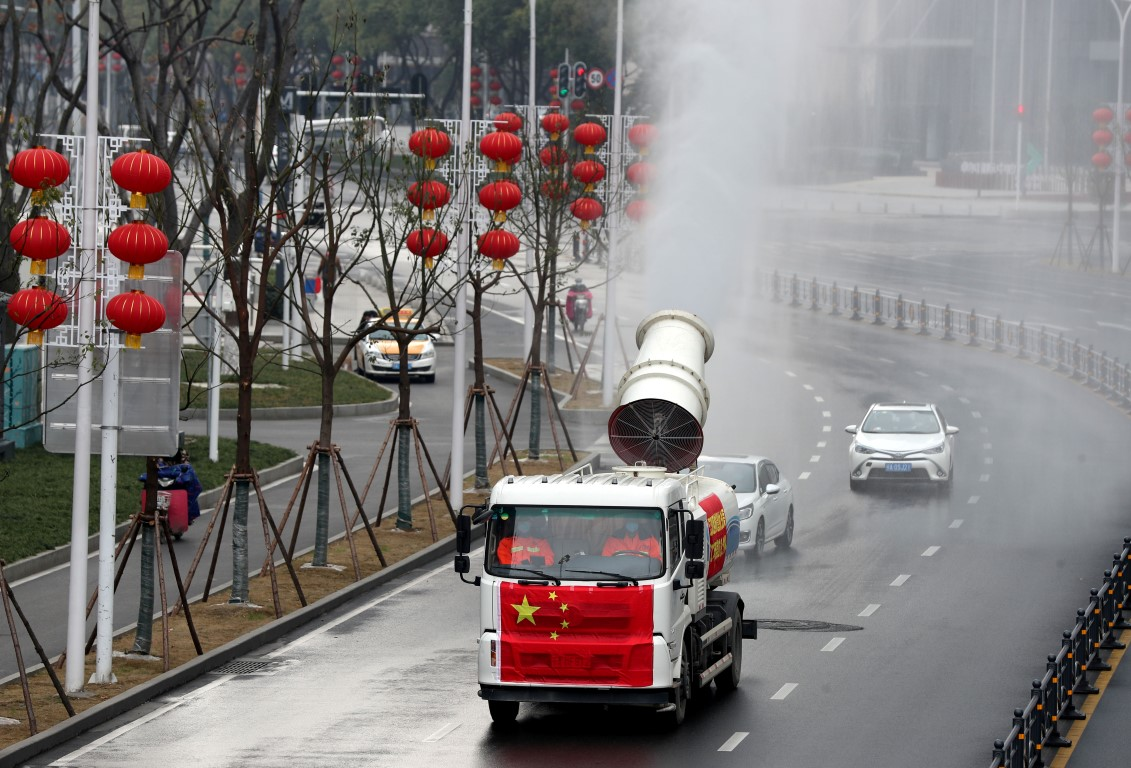 Disinfection operations are carried in Jianghan district in Wuhan following the coronavirus...