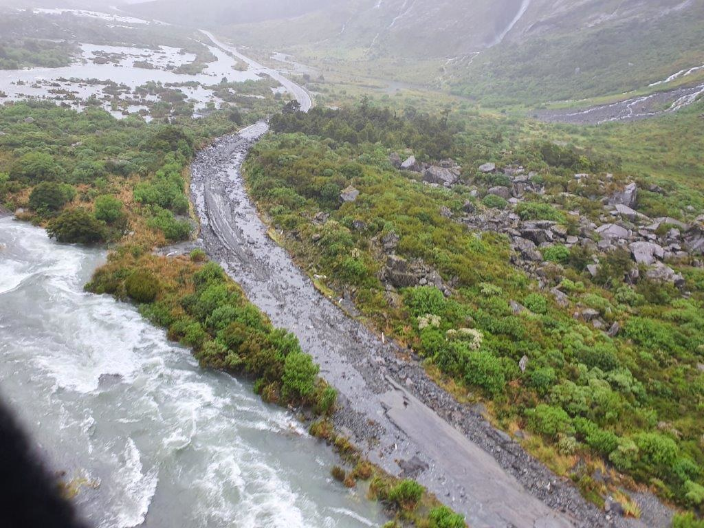 Flooding damage on the Milford Road (State Highway 94). Photo: NZTA