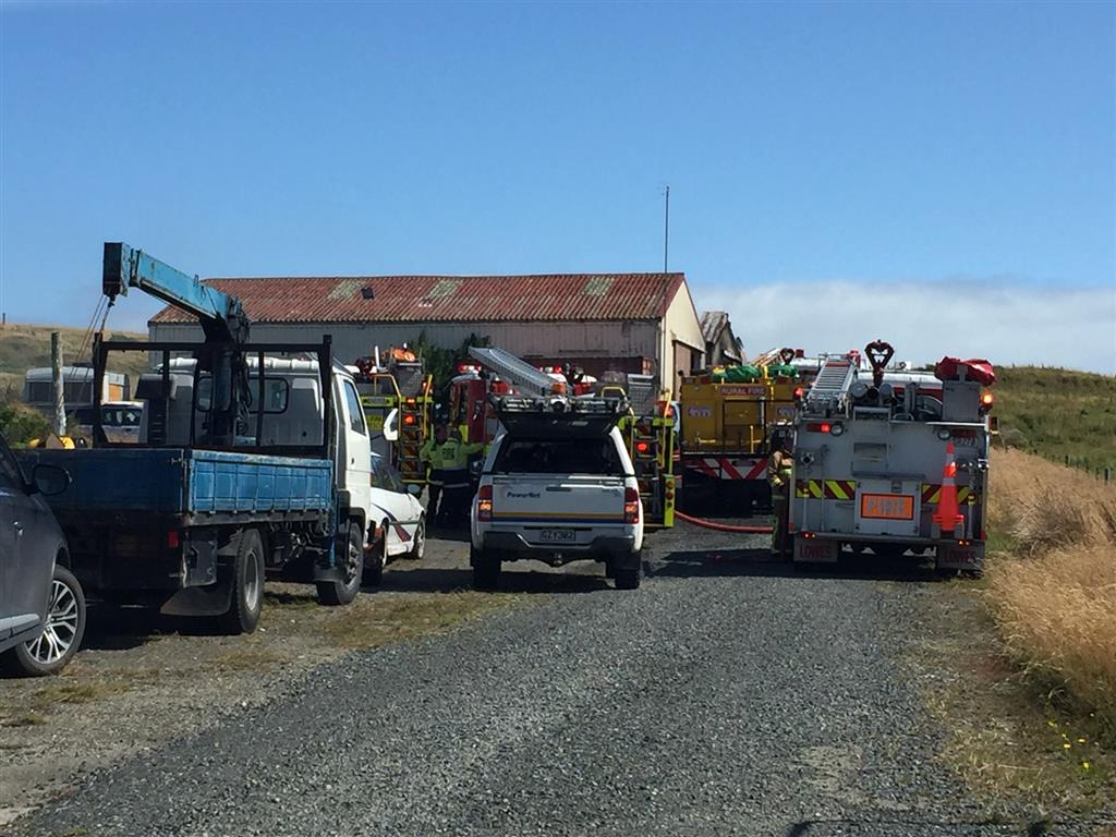 Fire crews at the scene near Bluff this afternoon. Photo: Luisa Girao