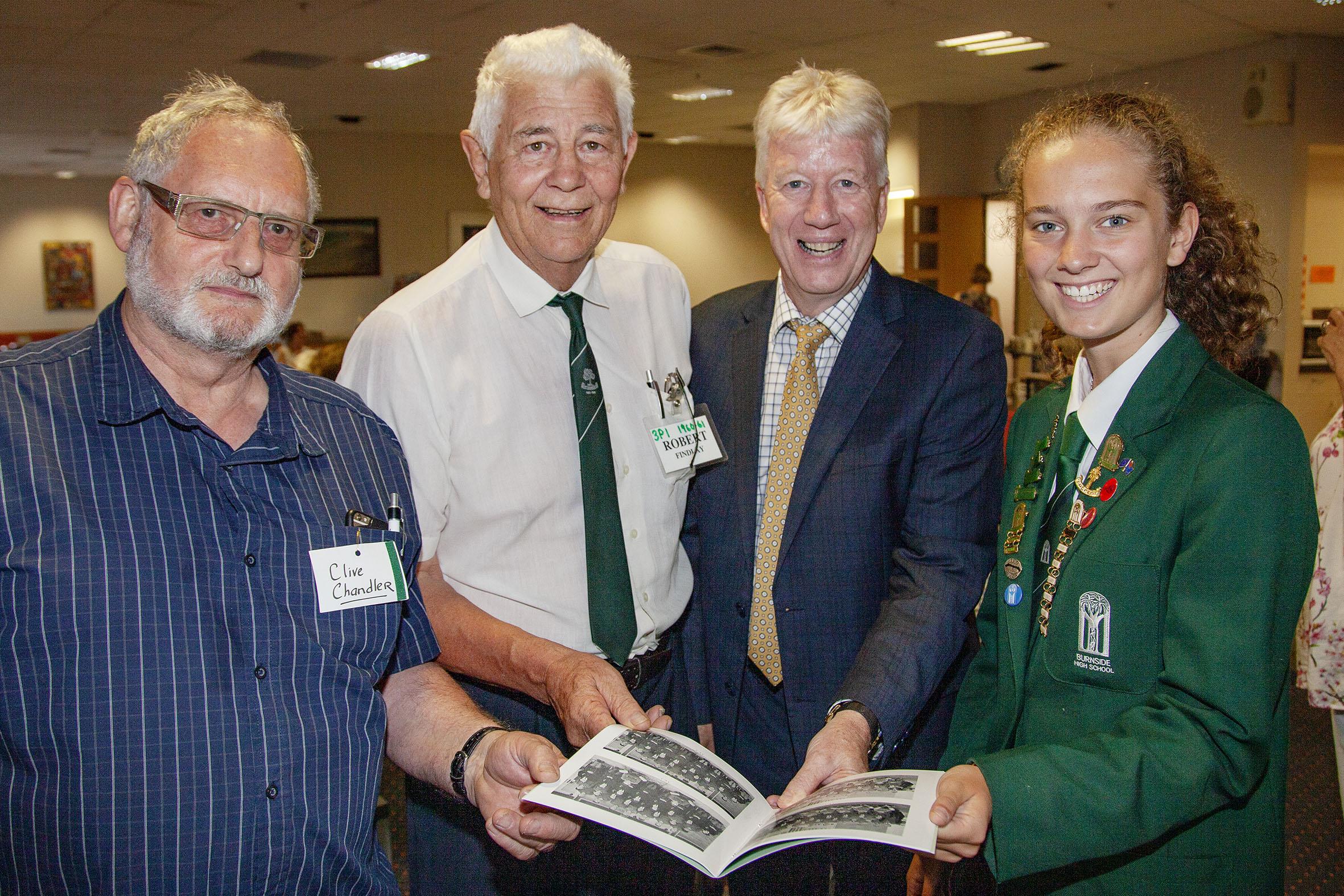 Clive Chandler, Robert Findlay, principal Phil Holstein and deputy head girl Emma Hollingworth...