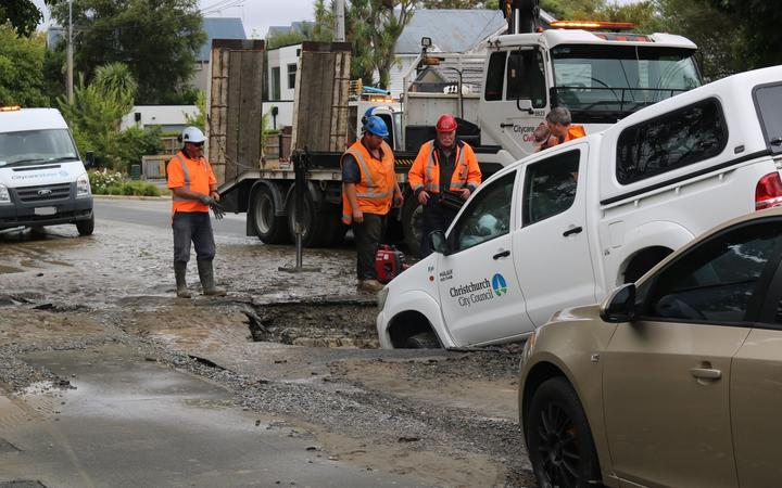 The Christchurch City Council vehicle became stuck after falling into a sinkhole in Linwood....