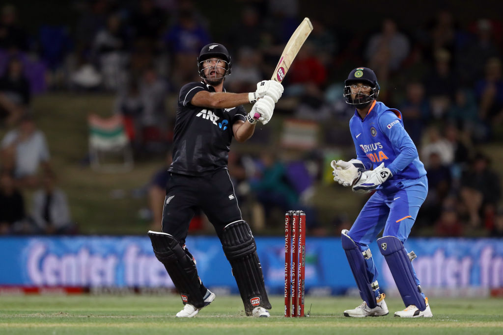 New Zealand's Colin de Grandhomme clubs a six against India. Photo: Getty