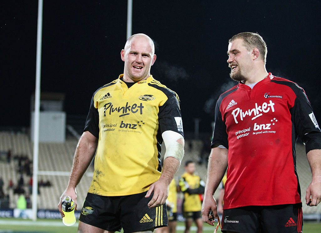 Ben Franks and his brother Owen while Ben was playing for the Hurricanes. Photo: Getty Images