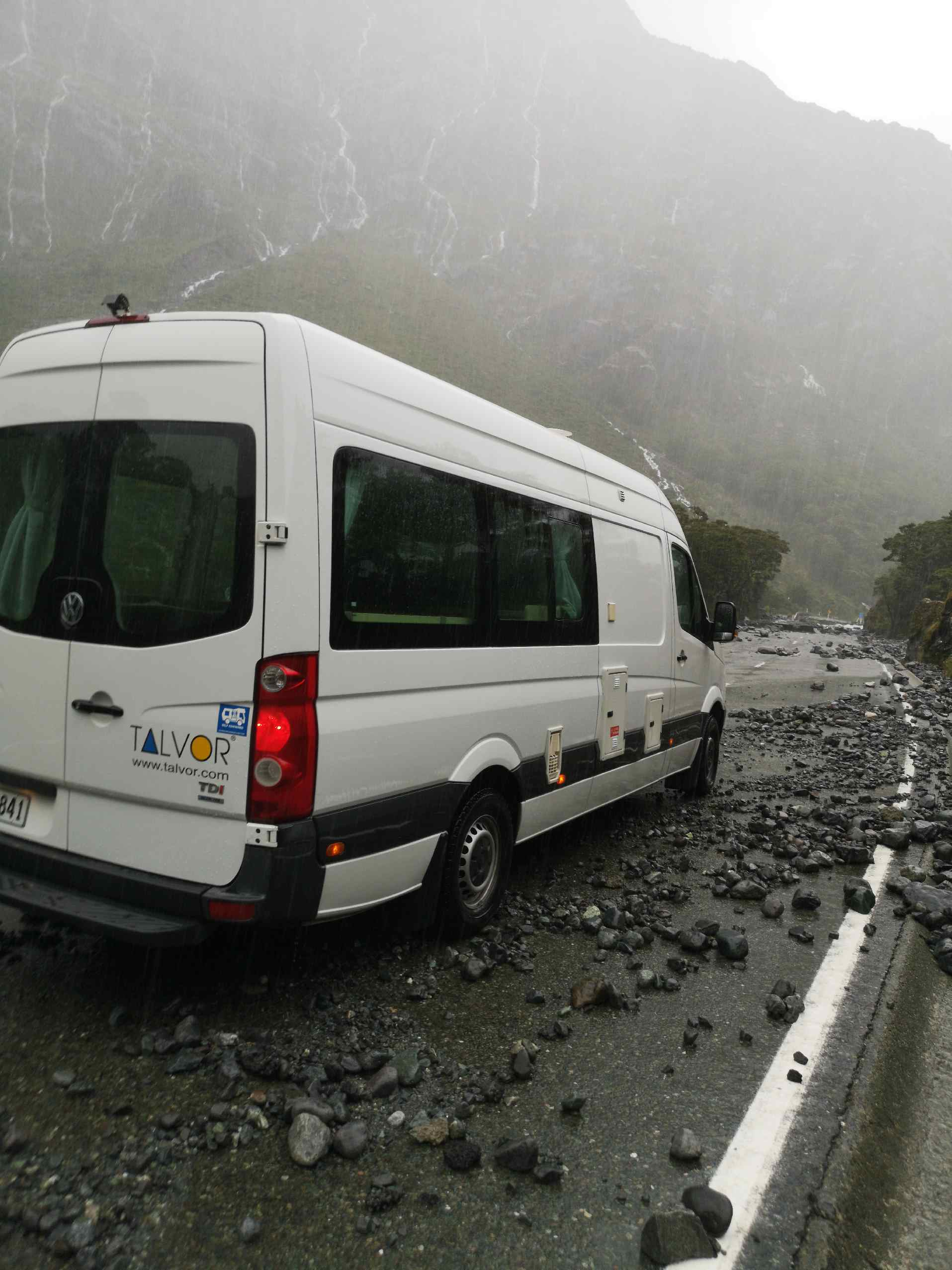 A couple from Germany were stranded in their caravan on their way from Cascade Creek to Milford...