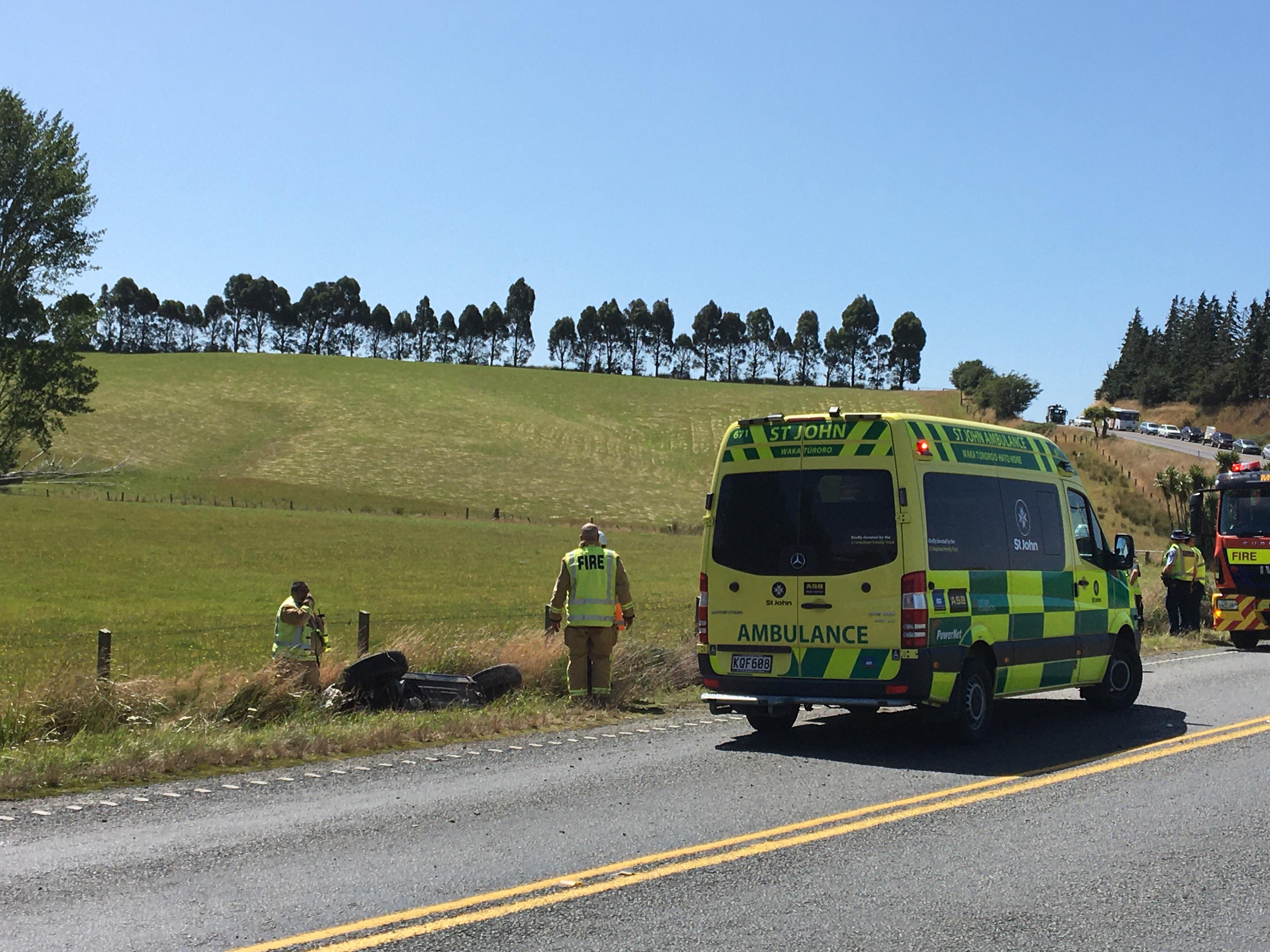 Traffic was backed up on SH1 after the crash. Photo: Richard Davison