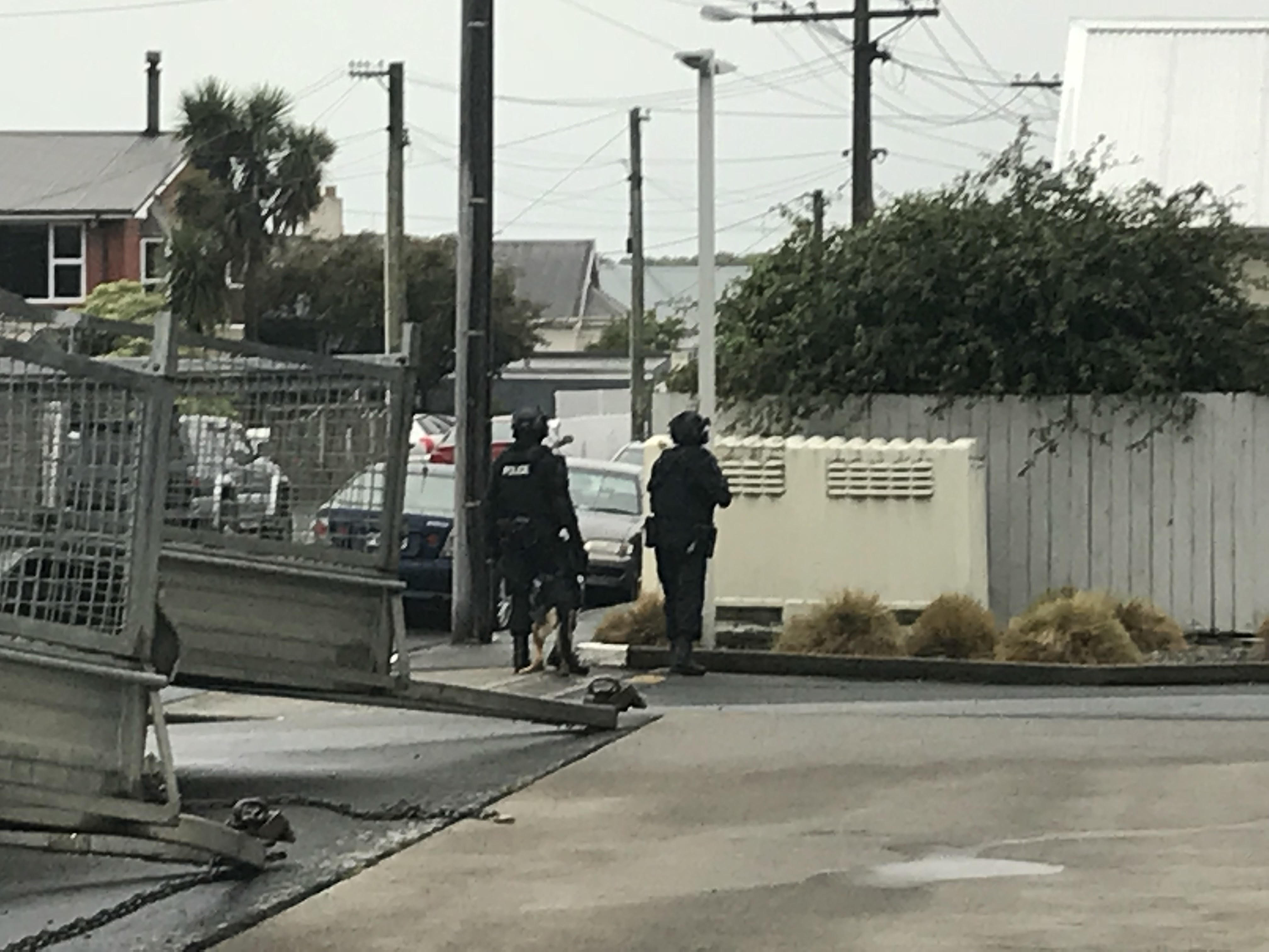 Armed police were called out in Dunedin's Forbury area this morning. Photo: Daisy Hudson