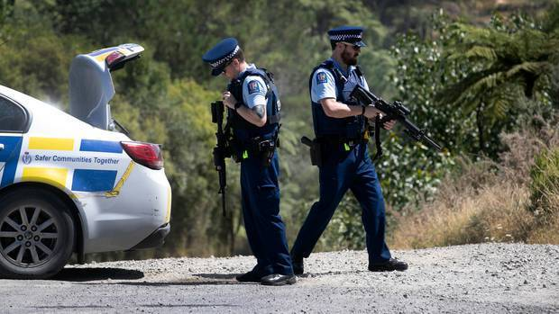 Police at the scene of the double homicide near Maclaren Falls earlier this week. Photo: Alan...