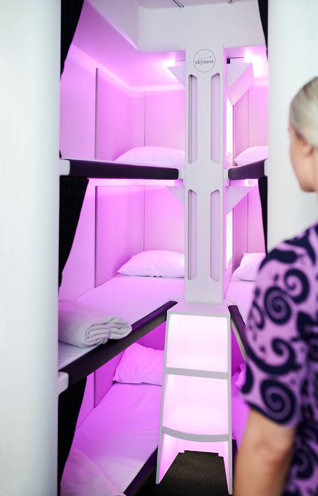 The Economy Skynest will have six bunk style beds similar in size to business class beds. Image:...