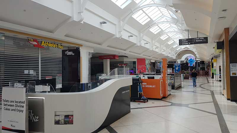 Closed shops at Westfield Riccarton. Pak 'n Save remains open. Photo: Geoff Sloan