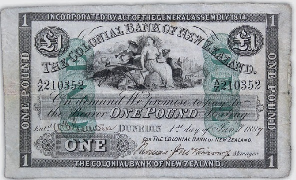 This rare Colonial Bank of New Zealand £1 note from 1887 has Dunedin links and will go up for auction in Wellington on Friday, with an estimated value of $NZ15,000. Photo: Supplied
