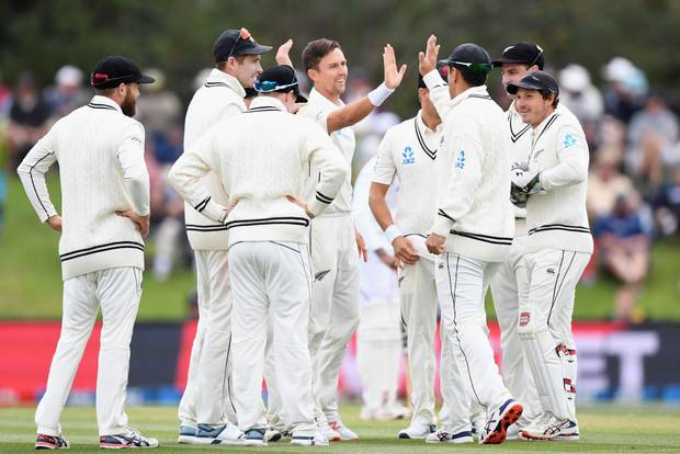 The Black Caps celebrate Trent Boult's wicket of Rishabh Pant. Photo: Getty Images
