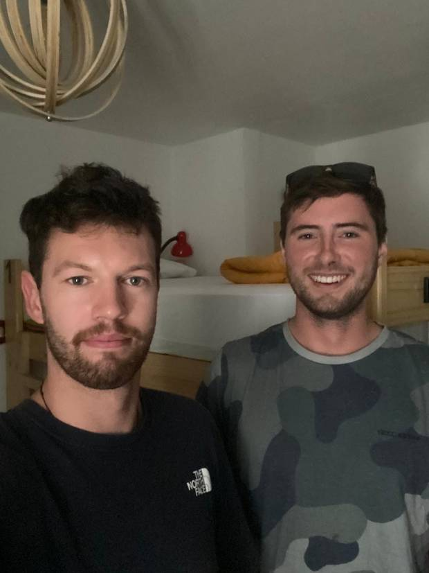 Caleb Nicol (left) and Conor Hayes are both stuck in a hostel in Lima, Peru, due to a Covid-19...