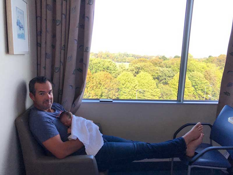 Cameron Henderson welcomes his daughter Annie. Photo: Supplied