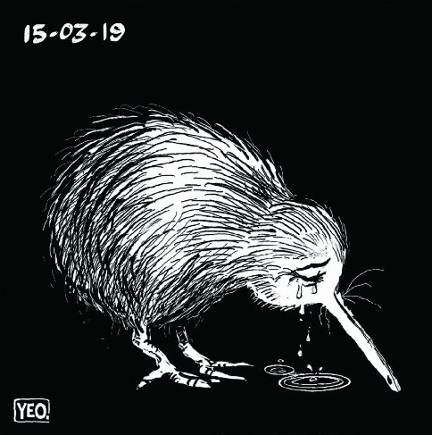 Sean Yeo's crying Kiwi cartoon gained international attention after the Christchurch terror attack.