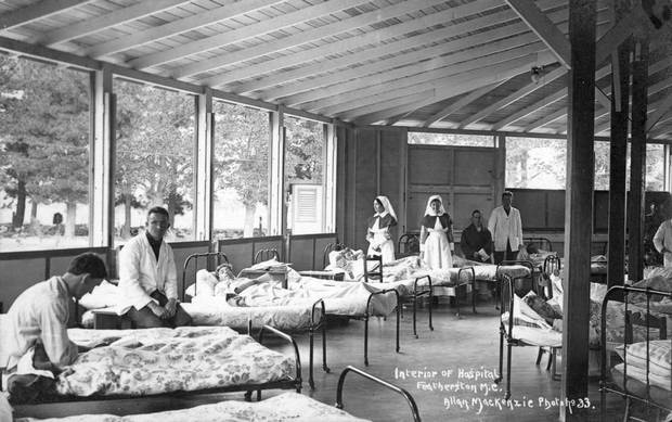 Soldiers in the camp hospital at Featherston Military Training Camp, where patients were cared...