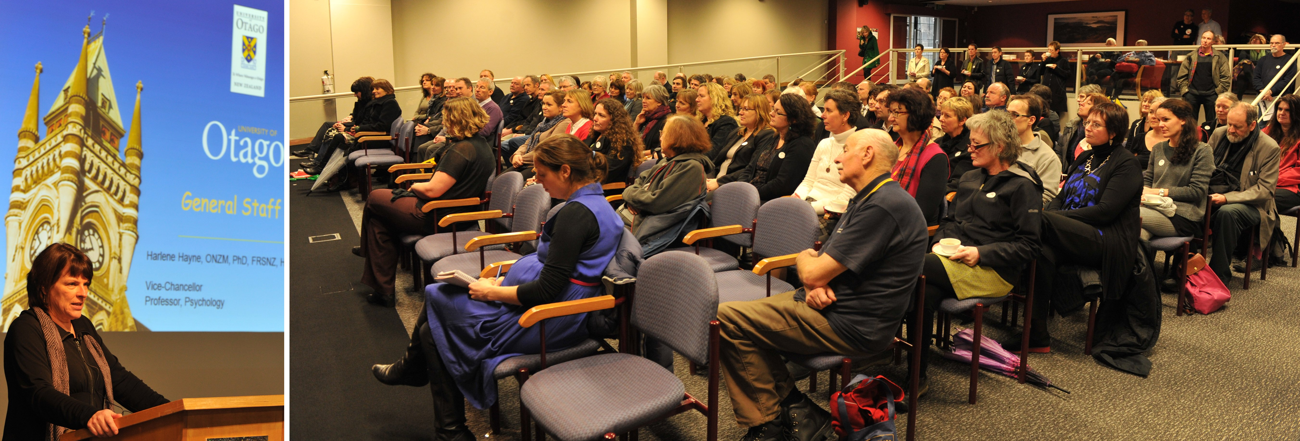 Prof Harlene Hayne addresses University of Otago general staff. Photo: Craig Baxter