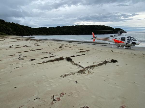 The man was spotted from the air during an extended shoreline search at Chew Tobacco Bay. Photo:...
