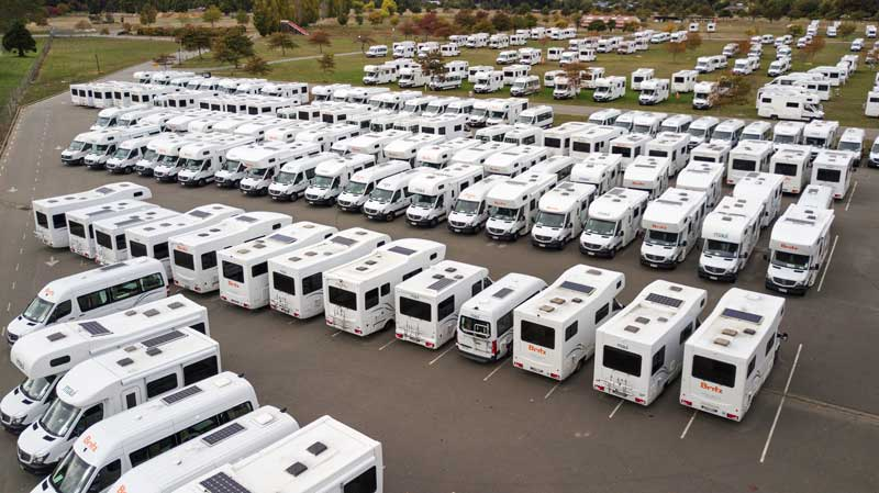 Campervans at Canterbury Agricultural Park all ready for returning travellers from overseas to...