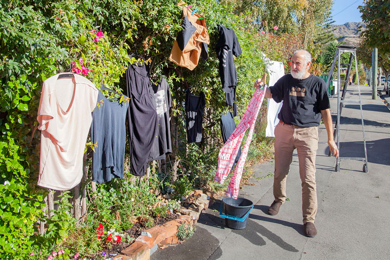 Getting the washing dry on Winchester St, Lyttelton.