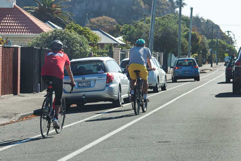 Cyclists on Main Rd, Redcliffs.