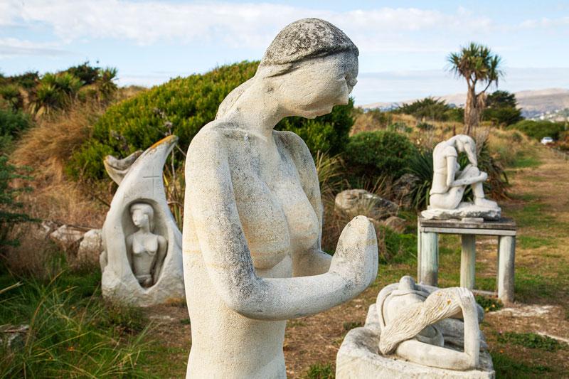 Stone sculptures at South Brighton Sculpture Park.