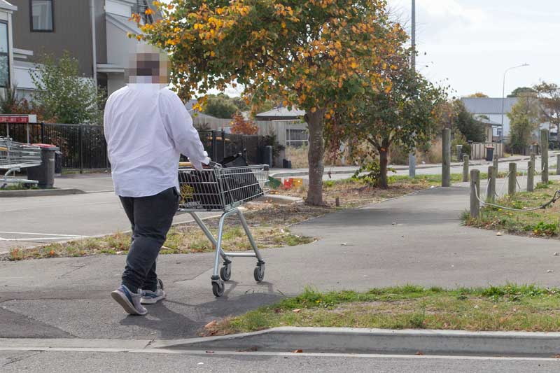 Getting the shopping home on Ben Rarere Ave, Aranui.